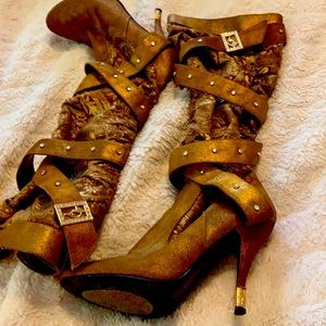 Unique gold suede and silk Hugh heeled boots